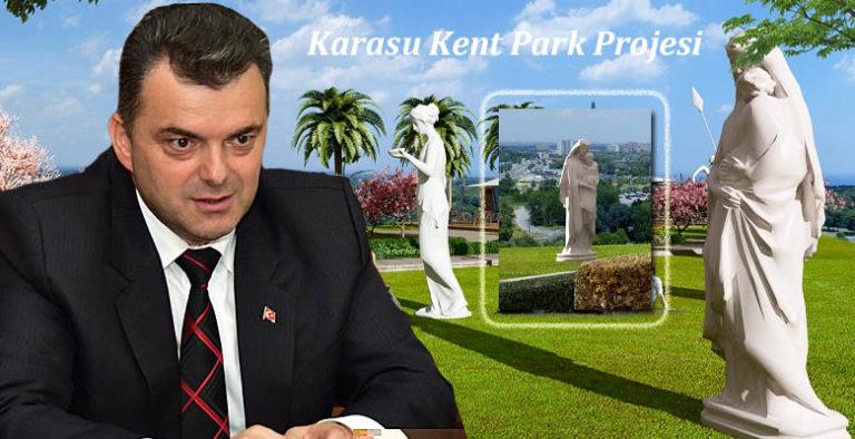 Karasu Kent Park Projesinde 'Meryem Ana Heykeli' dikkat çekti