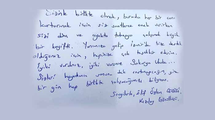 Sakarya UMKE'ye duygu dolu mektup